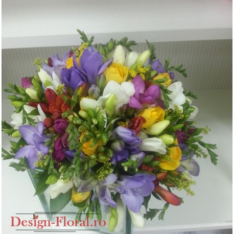 Buchet Mireasa Frezii Colorate Floraria Design Floral Florarie