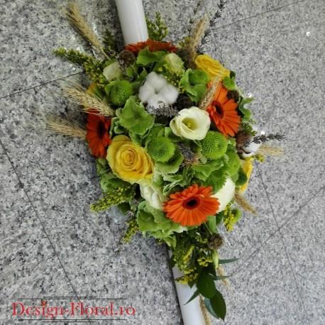 Lumanare botez Hortensie si trandafiri
