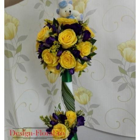 Lumanare botez trandafiri galbeni