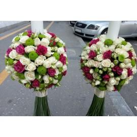Lumanari nunta minirose colorate