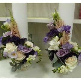 Lumanari nunta cilindrice trandafiri si Astilbe