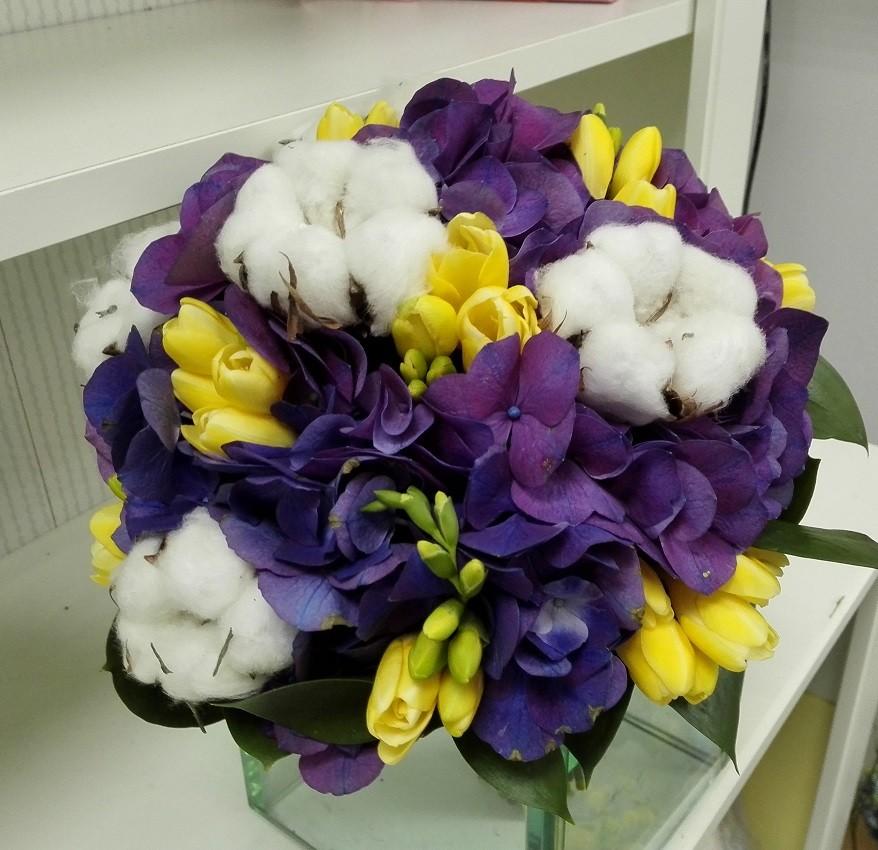 Buchet Mireasa Hortensie Si Bumbac Floraria Design Floral