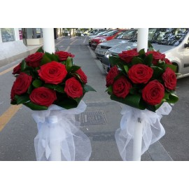 Lumanari cununie trandafiri rosii