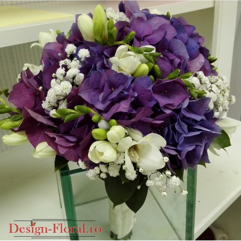 Buchet Mireasa Hortensie Si Floarea Miresei Floraria Design Floral