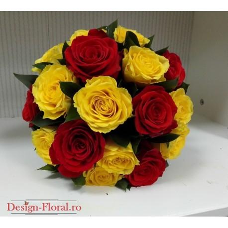 Buchet Mireasa Trandafiri Galbeni Si Corai Floraria Design Floral