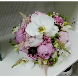 Buchet mireasa bujori si orhidee Phalaenopsis