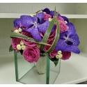 Buchet mireasa trandafiri Aqua si orhidee vanda