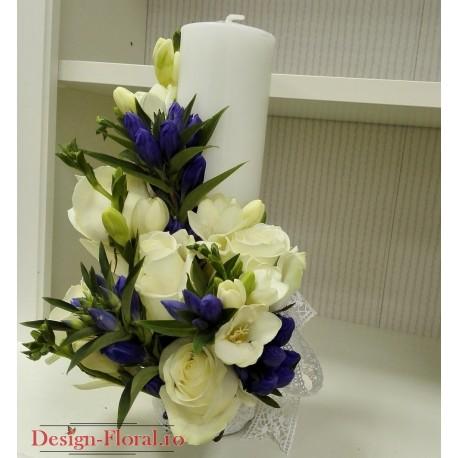 Lumanare Botez Cilindrica Baieti Floraria Design Floral Florarie