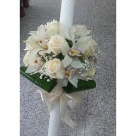 Lumanare botez orhidee si trandafiri
