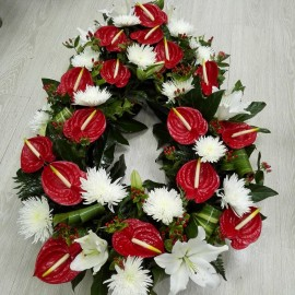 Coroana funerara anthurum si crizanteme