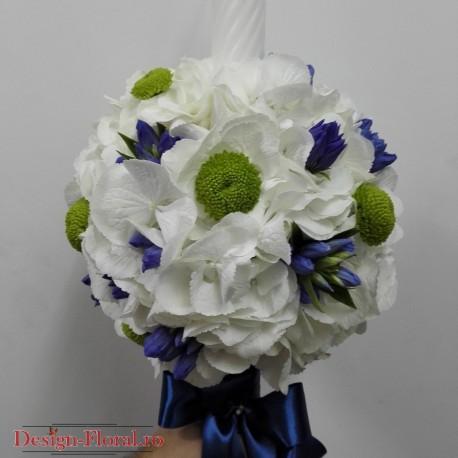 Lumanare botez hortensie si gentiana albastra