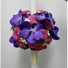 Lumanare botez trandafiri si orhidee Vanda