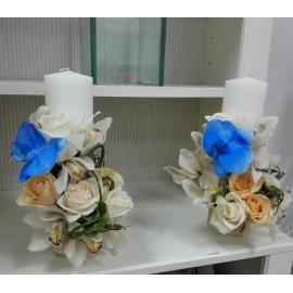 Lumanari nunta cilindrice orhidee si trandafiri