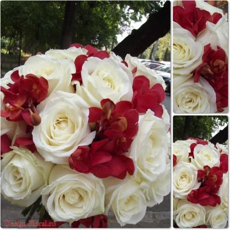 Buchet mireasa trandafiri si orhidee Mokara