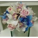Buchet mireasa orhidee imperiala albastra