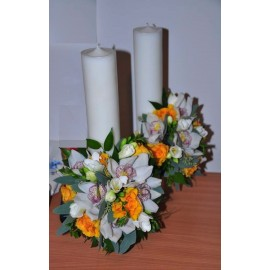 Lumanari nunta cilindrice orhidee