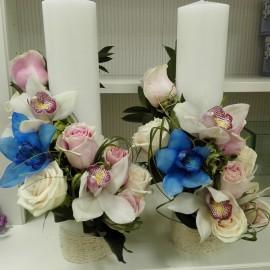 Lumanari nunta cilindru trandafiri