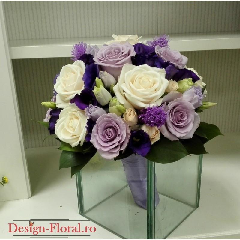 Buchet Mireasa Trandafiri Crem Si Mov Floraria Design Floral
