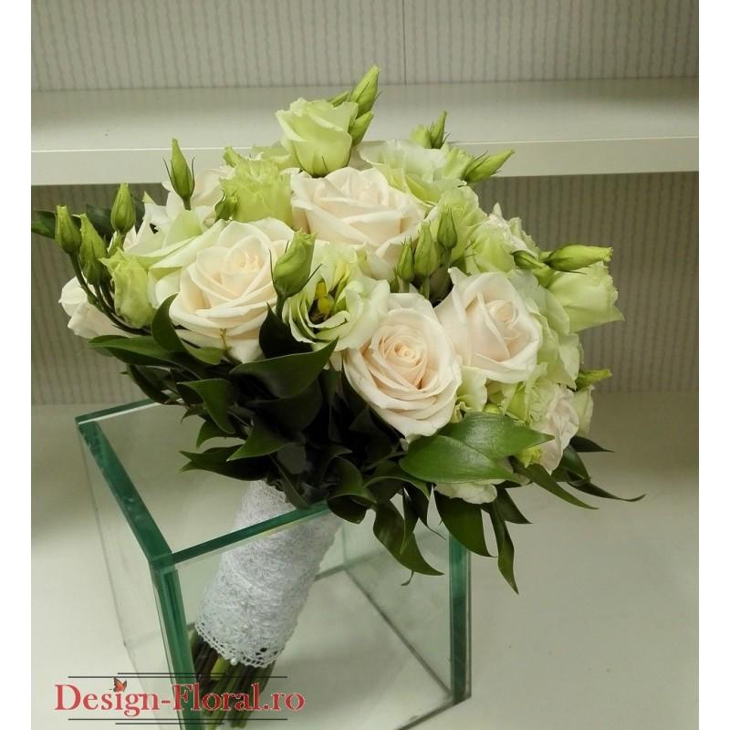 Buchet Mireasa Lisianthus Verde Si Trandafiri Floraria Design