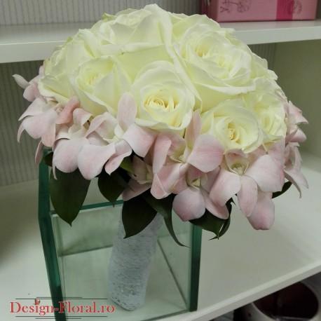 Buchet mireasa trandafiri si orhidee roz