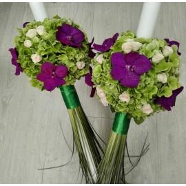 Lumanari nunta Hortensie si orhidee Vanda