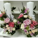 Lumanari nunta cilindrice bouvardia si trandafiri