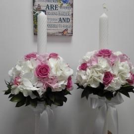 Lumanari cununie hortensie si trandafiri