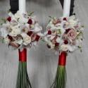 Lumanari nunta orhidee si trandafiri cappucino