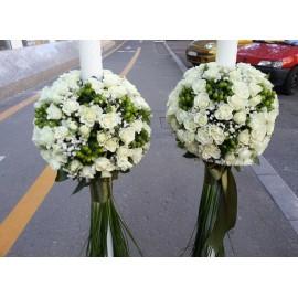 Lumanari nunta minirose albe