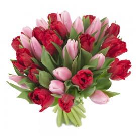 Buchet primavara lalele roz si rosii
