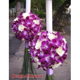 Lumanari de cununie glob din orhidee mov si trandafiri