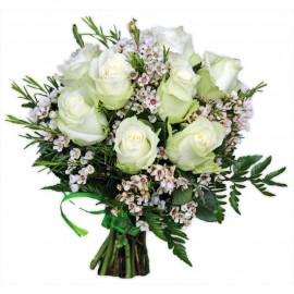 Buchet trandafiri si wax flowers
