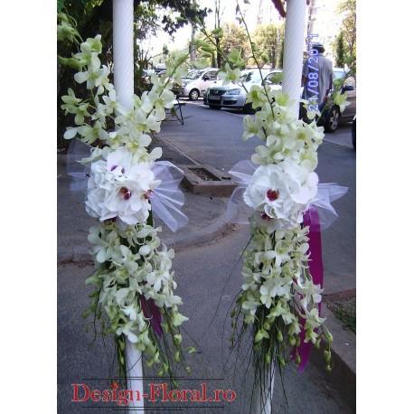 Lumanari nunta din orhidee si hortensie