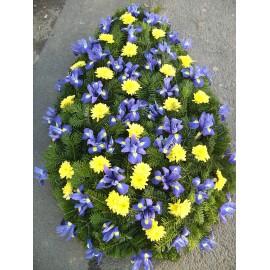 Coroana funerara iris si crizantema galbena