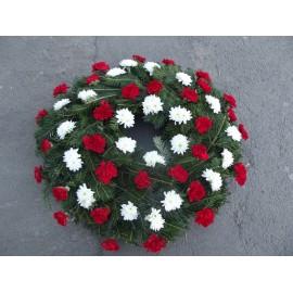 Coroana funerara rotunda din garoafe si crizanteme