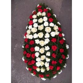 Coroana funerara trandafiri si garoafe