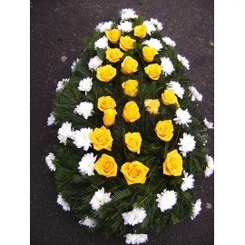 Coroana funerara trandafiri si crizanteme albe