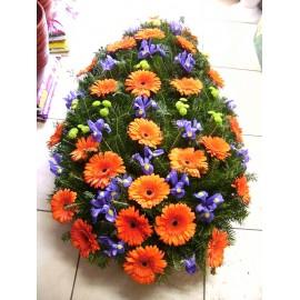 Coroana funerara gerbera si iris