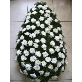 Coroana funerara 120 crizanteme albe