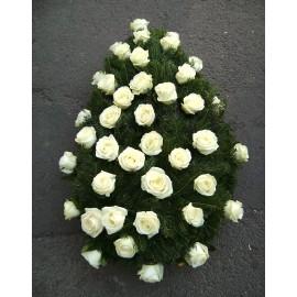 Coroana funerara 50 trandafiri albi