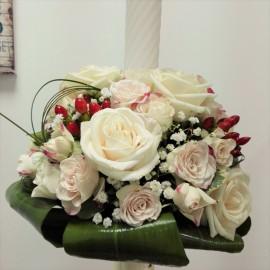Lumanare botez trandafiri si minirose