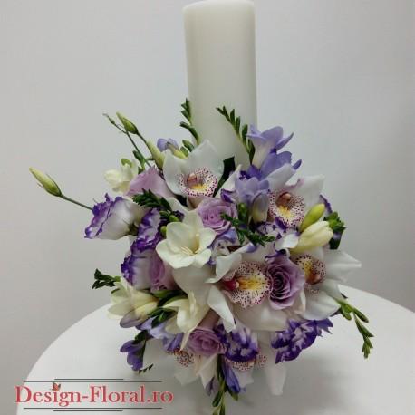 Lumanare botez cilindrica frezii si orhidee