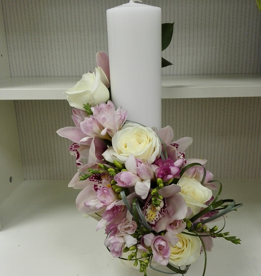 Lumanare Botez Cilindrica Fetite Floraria Design Floral Florarie