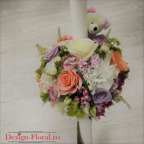 Lumanare botez mix floral pastelat