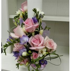 Lumanare botez cilindrica trandafiri roz
