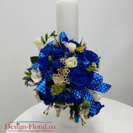 Lumanare botez cilindrica trandafiri albastrii
