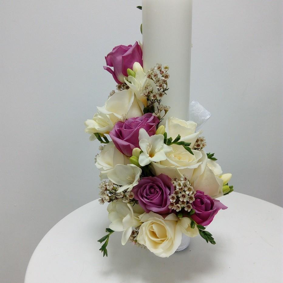 Lumanare Botez Scurta Trandafiri Si Chameolucium Floraria Design