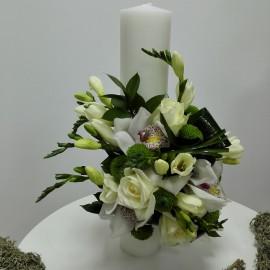 Lumanare botez cilindrica orhidee alba