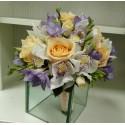Buchet mireasa orhidee si frezii lila