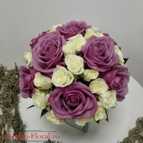Buchet Mireasa Trandafiri Mov Floraria Design Floral Florarie